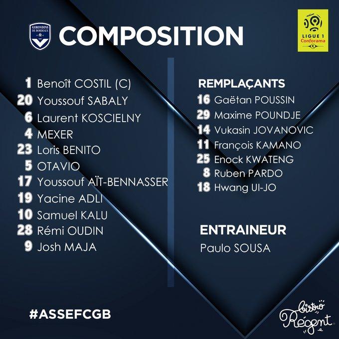 ASSE-Bordeaux : la compo